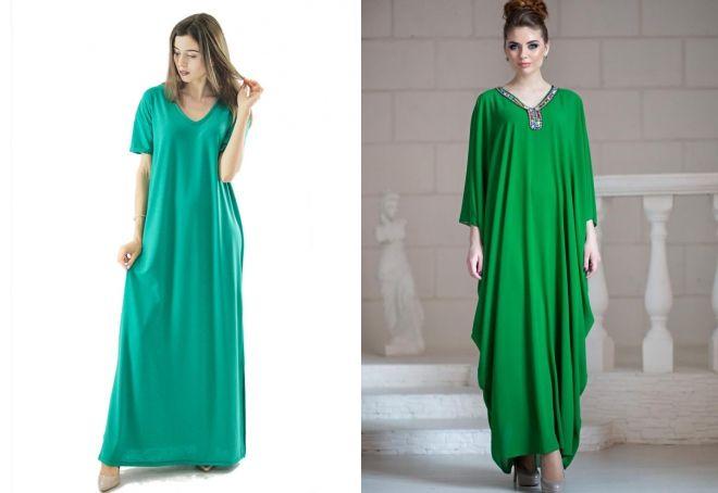длинное зеленое платье оверсайз
