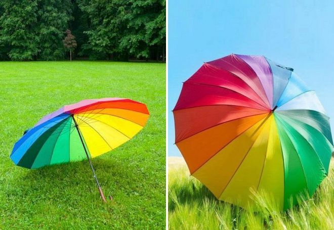 parapluie canne arc en ciel