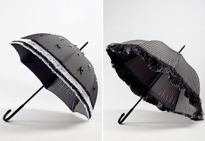 зонт трость с рюшами