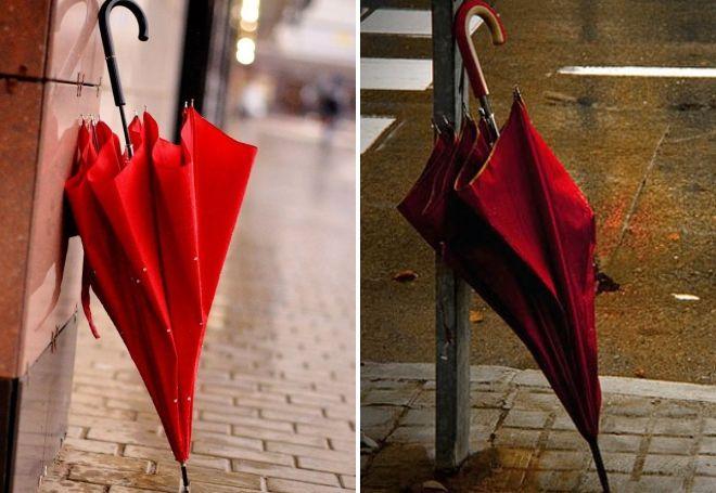 красный зонт трость