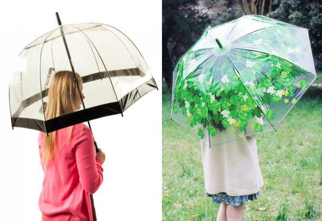 прозрачный зонт трость