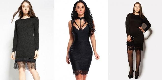 Короткое черное кружевное платье