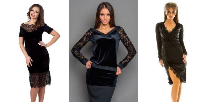 Черное бархатное платье с кружевом