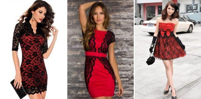 Красное платье с черным кружевом