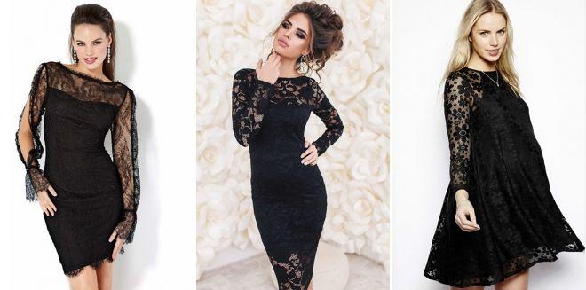 Модное черное платье с кружевом