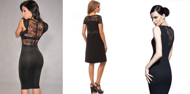 Черное платье с кружевными вставками