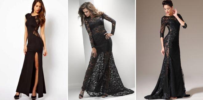 Вечернее черное кружевное платье