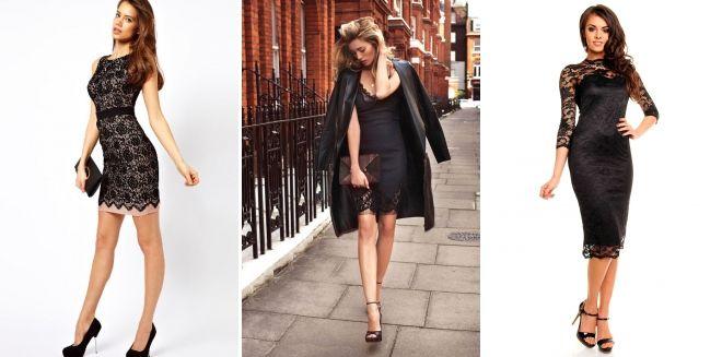 С чем носить черное кружевное платье
