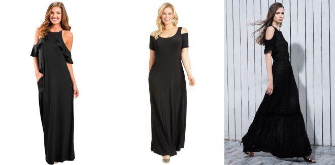 Длинное черное платье с запахом