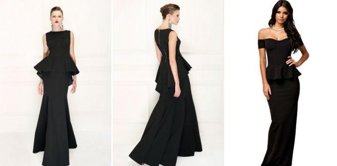 Черное длинное платье с баской