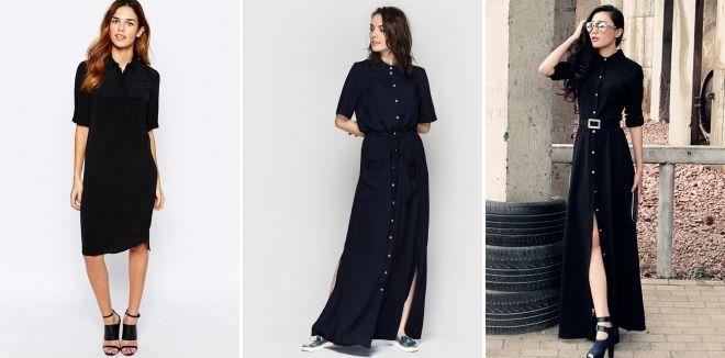 Длинное черное платье-рубашка