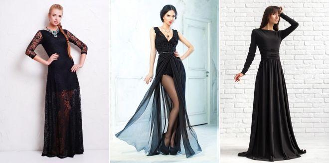 Модное черное длинное платье