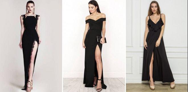 Вечернее черное длинное платье