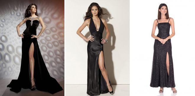 Длинное черное платье с разрезом