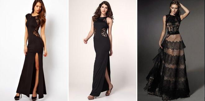 Черное длинное кружевное платье