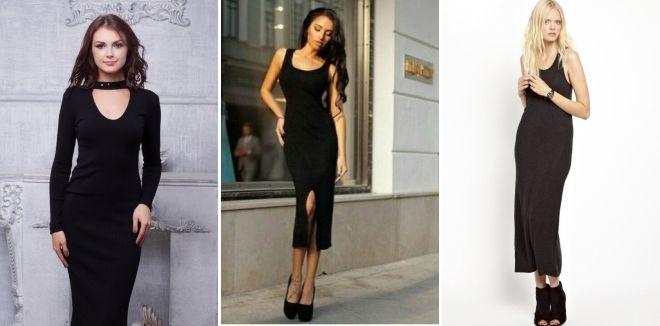 Черное длинное платье-лапша