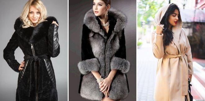 Расклешенное пальто с мехом