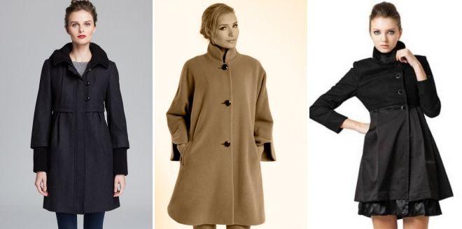 Расклешенное пальто с завышенной талией