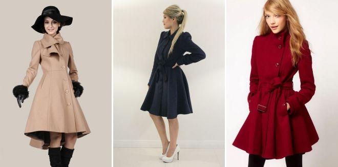 Женское расклешенное пальто