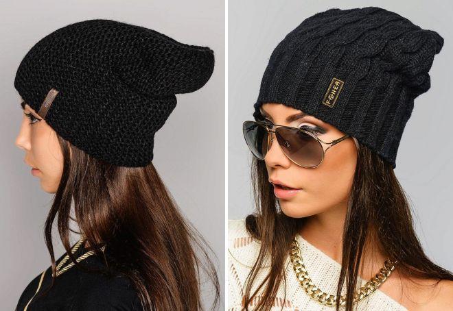 черная вязаная шапка для женщин