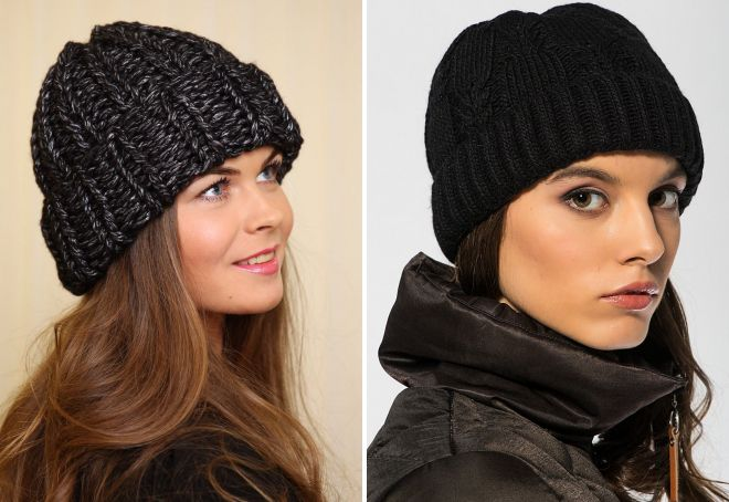 женская вязаная черная шапка