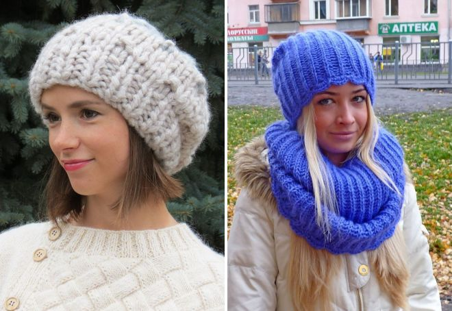 модные женские объемные вязаные шапки с отворотом косами
