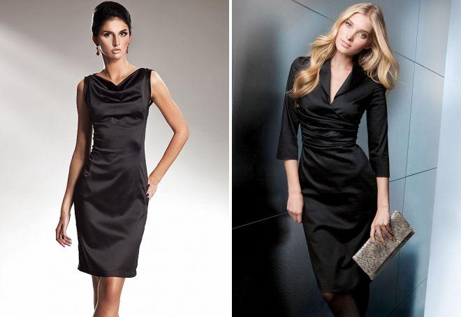 черное атласное платье-футляр