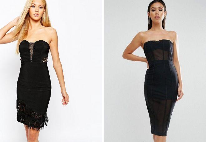 черное платье-футляр бандо