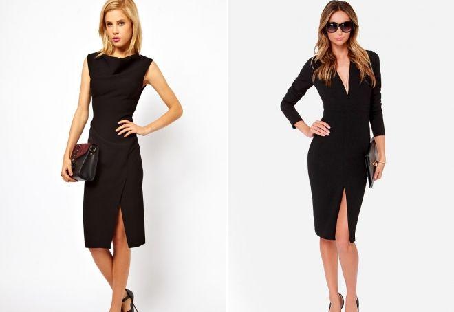 черное платье-футляр с разрезом
