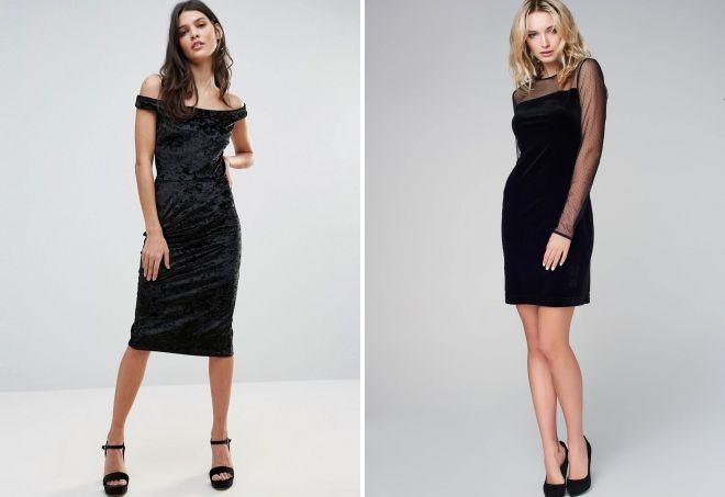 черное бархатное платье-футляр