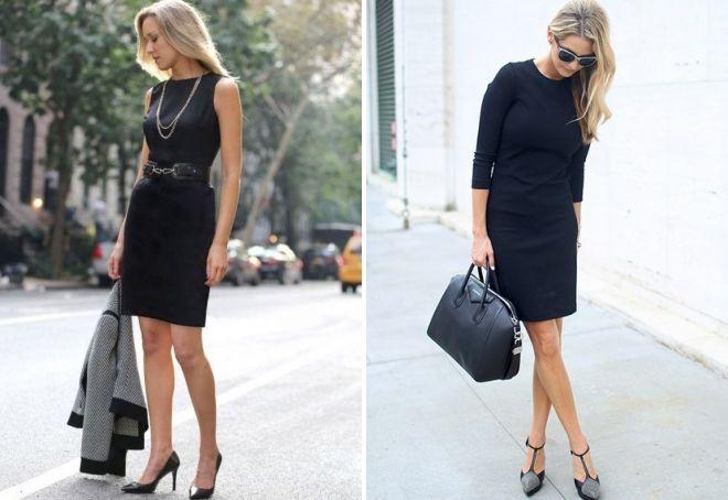 с чем носить черное платье-футляр