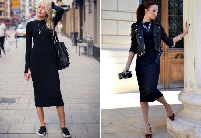 черное платье-футляр миди