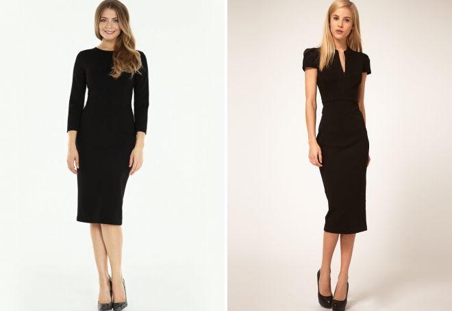 классическое черное платье-футляр