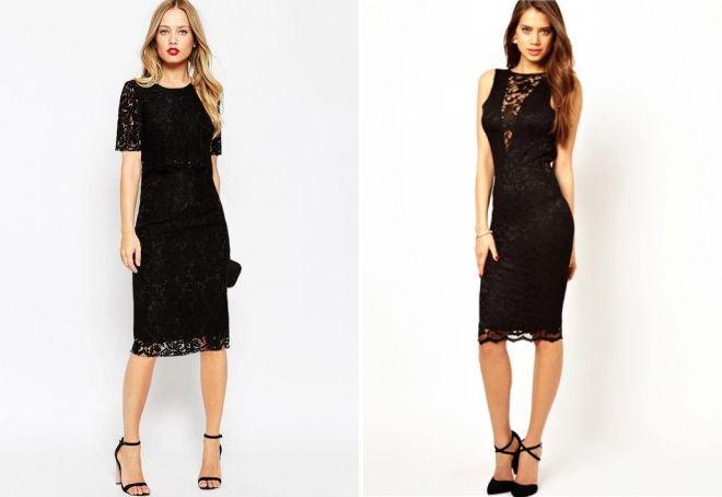 черное платье-футляр с кружевом