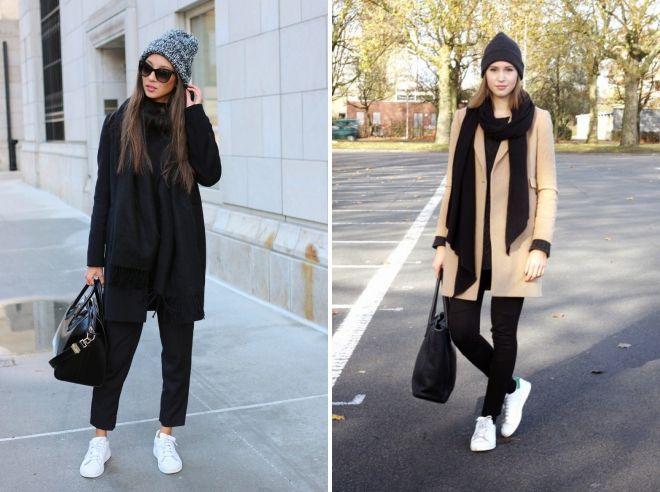 пальто со спортивной шапкой