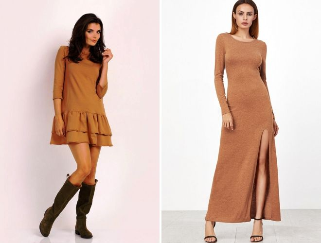платье цвета кэмел