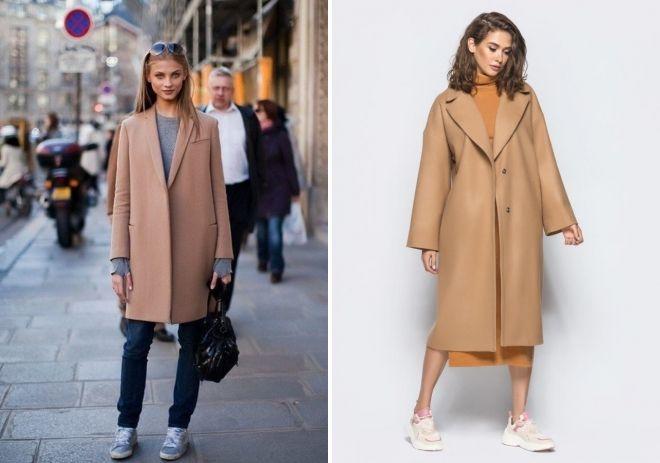 пальто цвета кэмел оверсайз