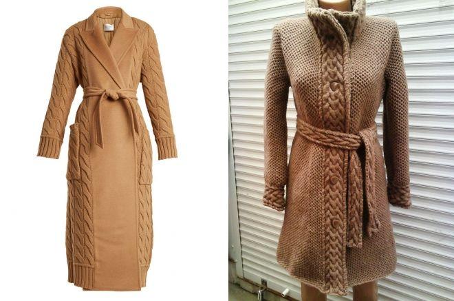 вязаное пальто цвет кэмел