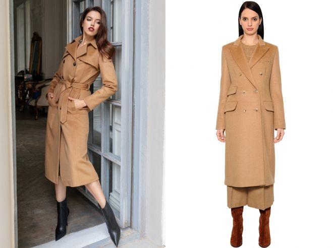 двубортное пальто цвета кэмел