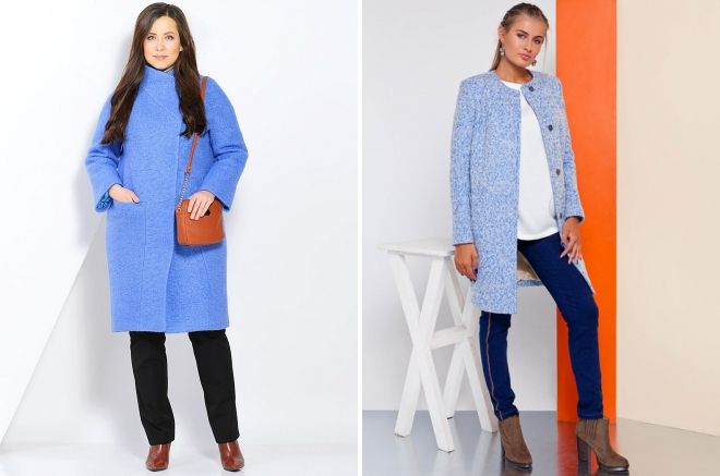 пальто голубое букле
