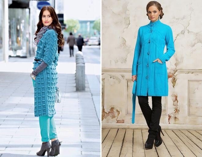 вязаное голубое пальто