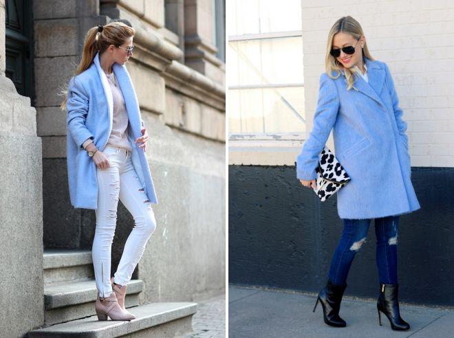 с какой обувью носить голубое пальто