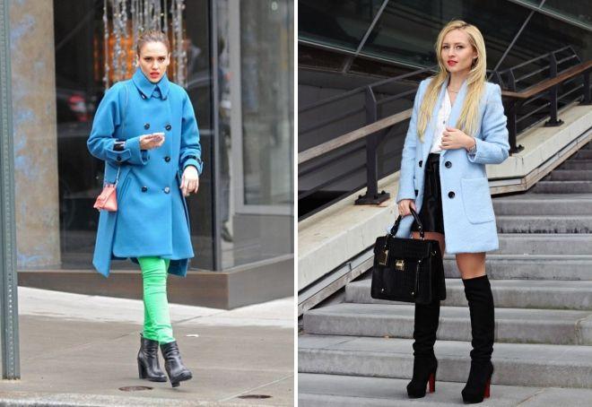 обувь к голубому пальто