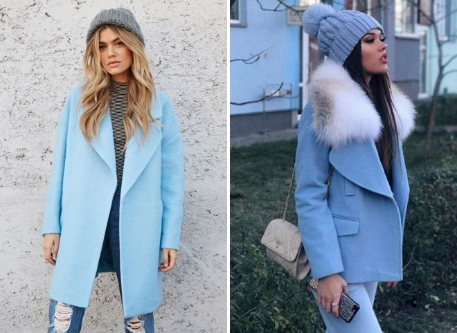 шапка к голубому пальто