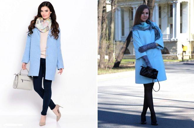 шарф к голубому пальто