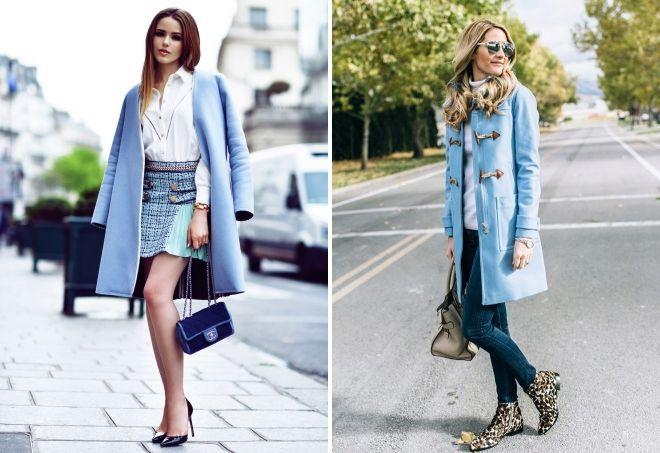 с чем носить голубое пальто 2019