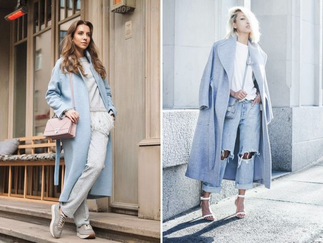 с чем носить длинное голубое пальто