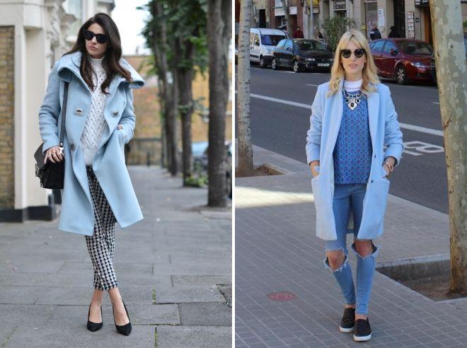 с чем носить голубое пальто до колена