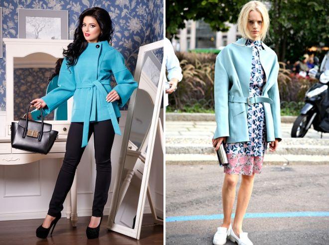 с чем носить короткое голубое пальто