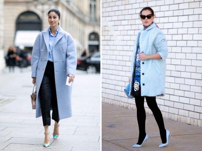 с чем сочетается голубое пальто